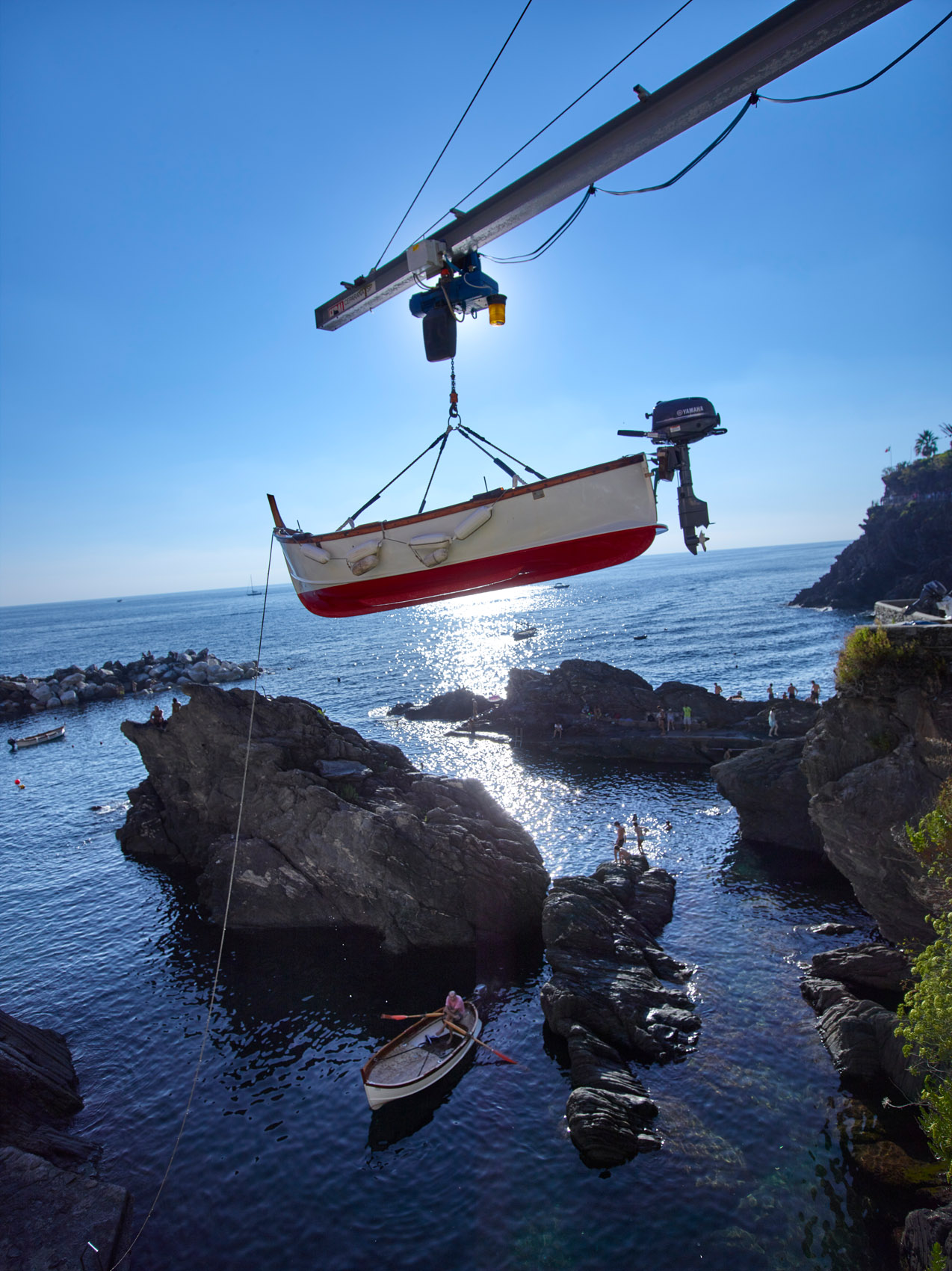 Hoisting up the cliffs of Manarola, Italy